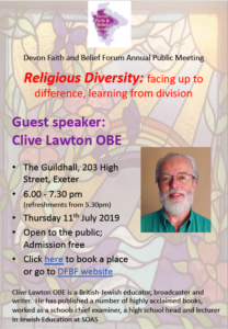 Clive Lawton: Religious Diversity; facing up to difference, learning from division @ Exeter Historic Guildhall